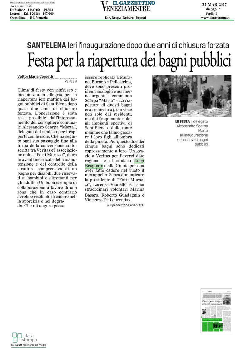 Gazzettino: Festa per la riapertura dei bagni pubblici a S.Elena ...