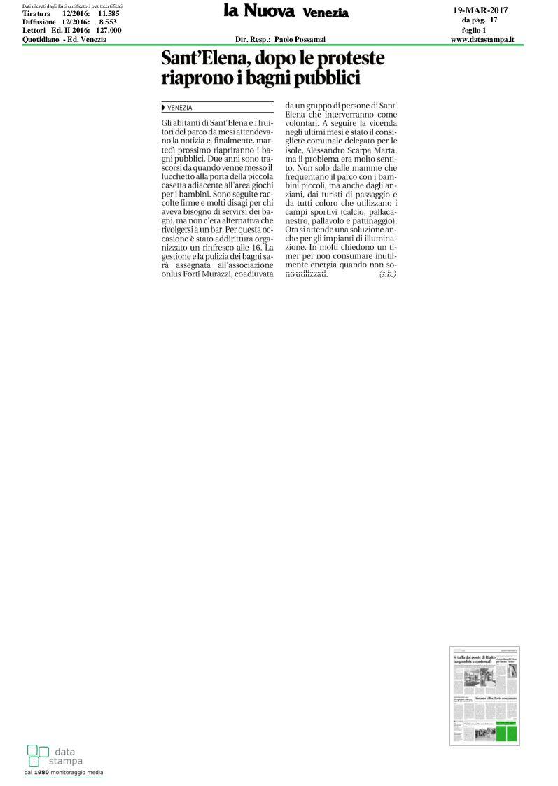 La Nuova Venezia: Sant\'Elena, dopo le proteste riaprono i bagni ...